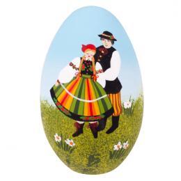Ręcznie malowana pisanka łowicka - gęsie jajo - para łowicka