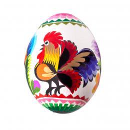 Ręcznie robiona pisanka - kurze jajo - wycinanka łowicka - kogucik