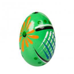 Ręcznie malowane drewniane jajko - pisanka ludowa - zielone